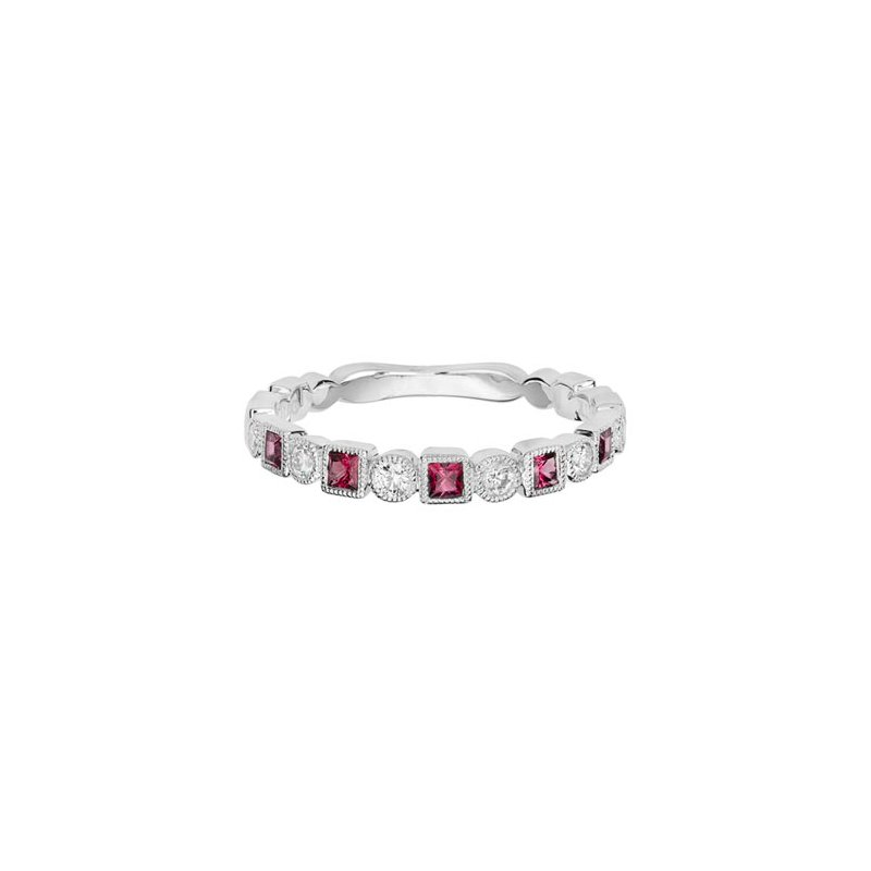 Lasker Gemstone Pink Tourmaline & Diamond Band