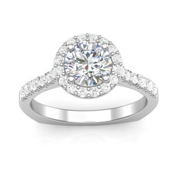 Round Halo Engagement Ring Mounting