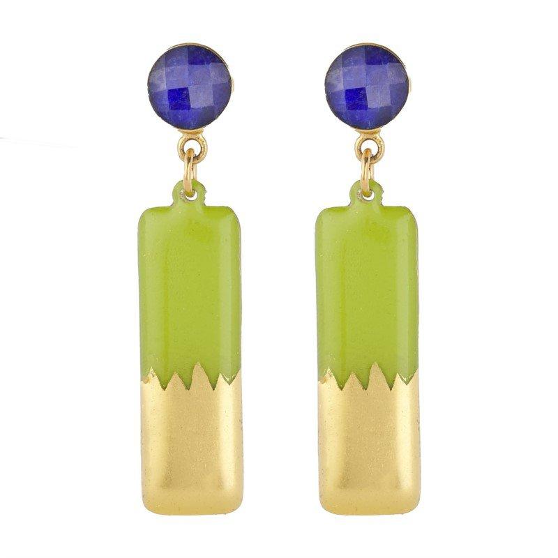 Evocateur Skyline Lime Medium Column Earrings