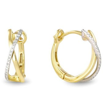 Crossover Diamond Hoop Earrings