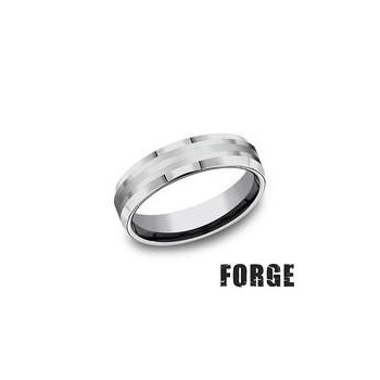 6MM Beveled Tungsten & 18KT White Gold Band