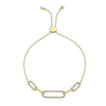 Paper Clip Link Diamond Bolo Bracelet