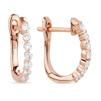 Single Prong Set Diamond Hoops