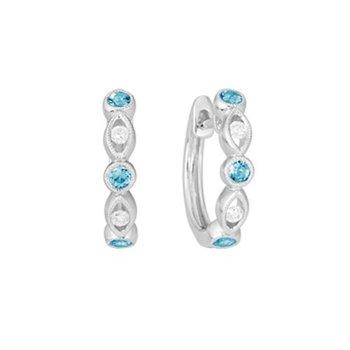 Blue Topaz and Diamond Huggie Earrings