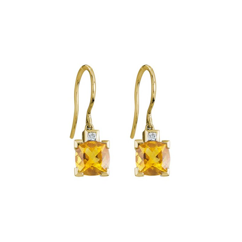 Lasker Gemstone Citrine Dangle Earrings