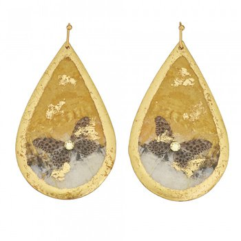 Gold Rush Butterfly Teardrop Earrings