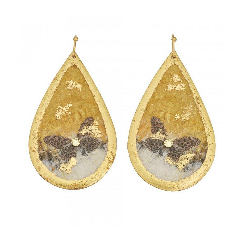 Evocateur Gold Rush Butterfly Teardrop Earrings