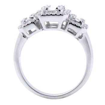 Three Stone Halo Ring