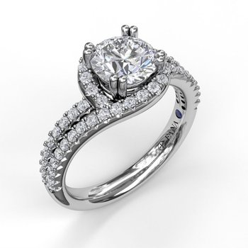 Twisted Halo Two Row Engagement Ring Mounting