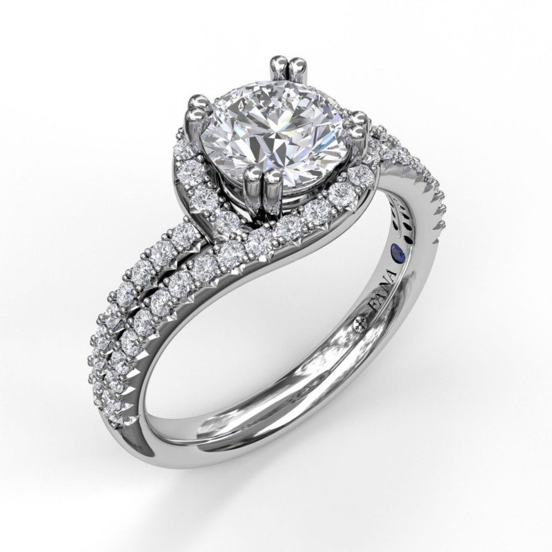 Fana Twisted Halo Two Row Engagement Ring Mounting