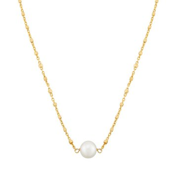14kt Yellow Gold Necklace with One White Pearl
