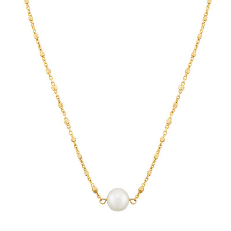 Lasker Pearl Fashion 14kt Yellow Gold Necklace with One White Pearl