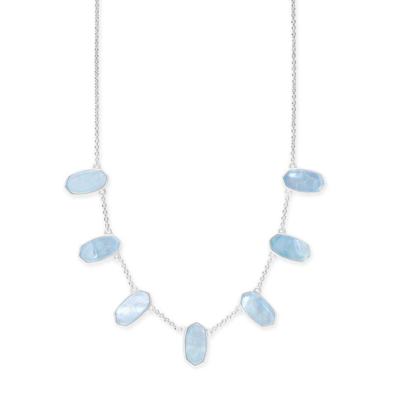 Kendra Scott Meadow Bright Silver Statement Necklace in Sky Blue Illusion