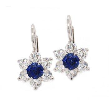 Sapphire & Diamond Flower Drop Earrings