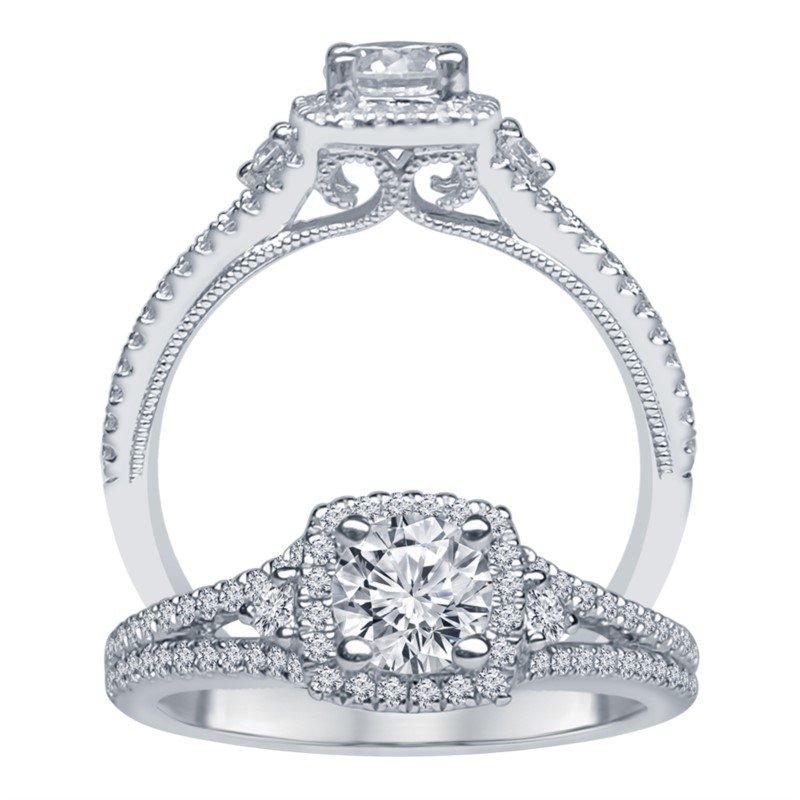 Lasker Bridal Split-Shank Halo Engagement Set