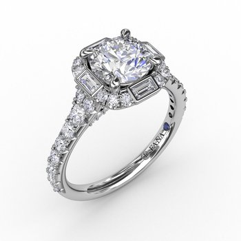 Halo Engagement Ring Mounting with Baguette Diamonds