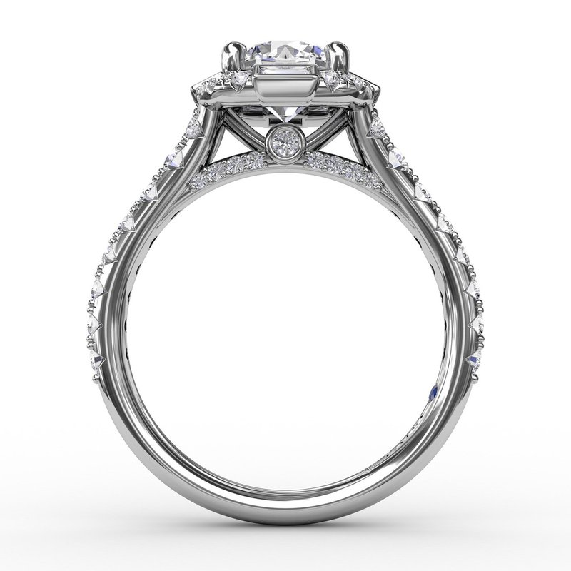 Fana Halo Engagement Ring Mounting with Baguette Diamonds