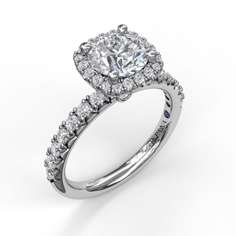 Fana Classic Square Halo Engagement Ring Mounting