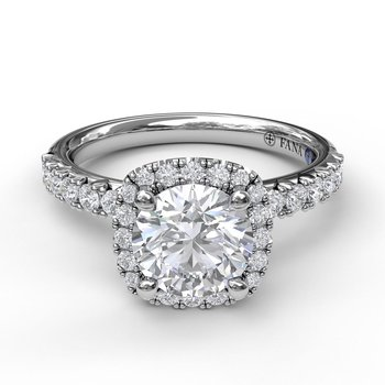 Classic Square Halo Engagement Ring Mounting