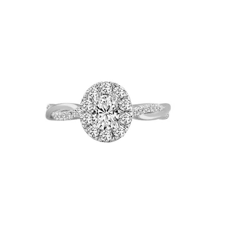 Lasker Bridal Woven Oval Halo Ring - 3/4cttw