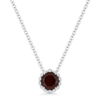Red Garnet & Diamond Halo Pendant
