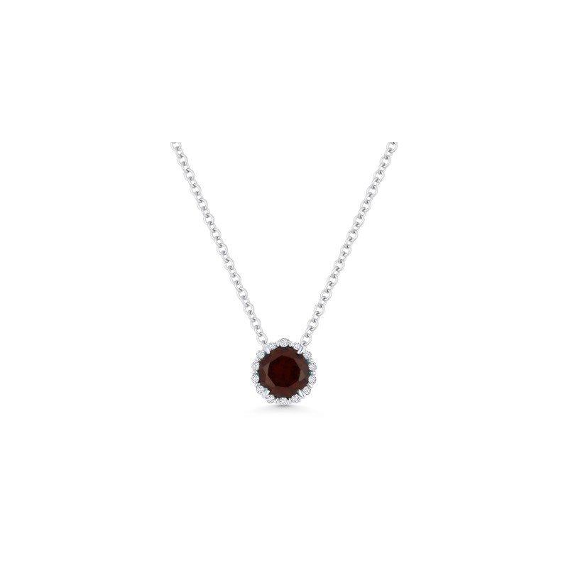 Lasker Gemstone Red Garnet & Diamond Halo Pendant