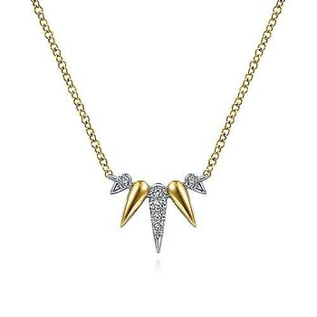 14K Yellow-White Gold Diamond Pavé Spike Fan Necklace