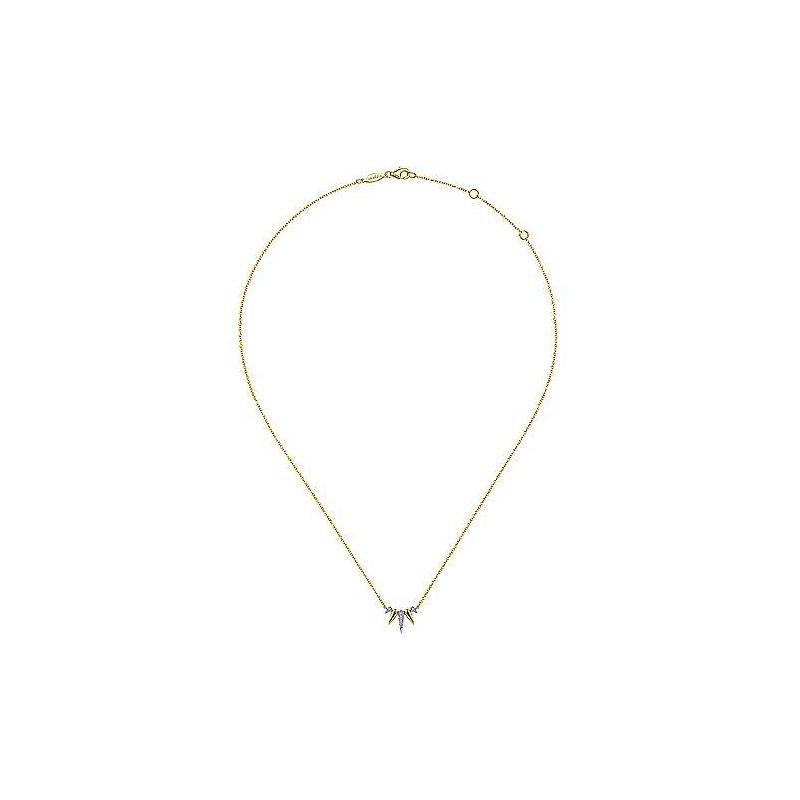 Gabriel Fashion 14K Yellow-White Gold Diamond Pavé Spike Fan Necklace