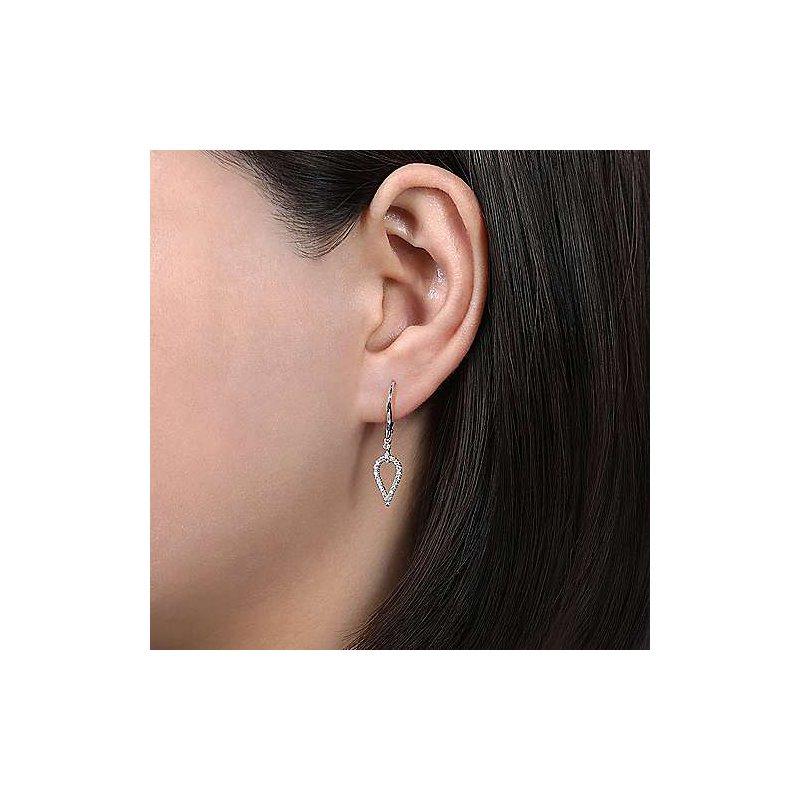 Gabriel Fashion 14K White Gold Pear Shape Diamond Leverback Earrings