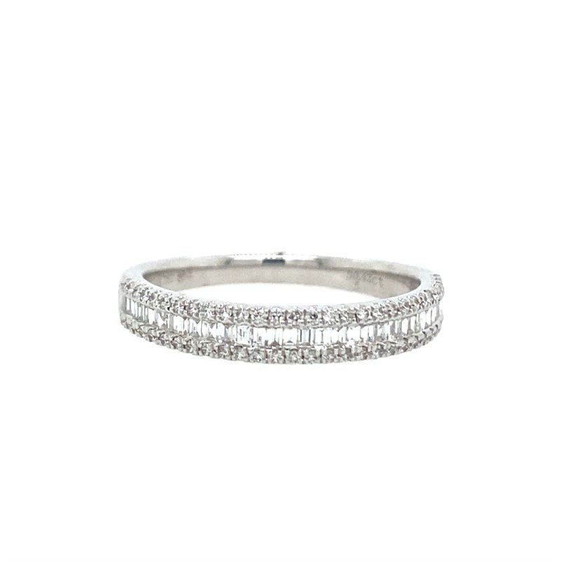 Lasker Bridal Baguette and Round Diamond Band