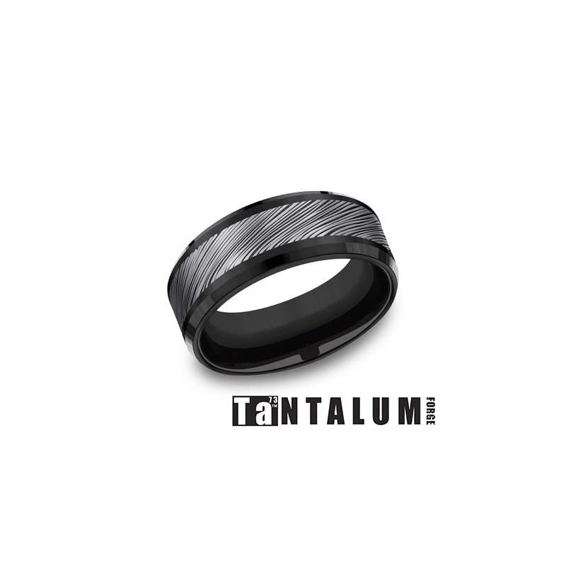 Lasker Men's 8mm Tantalum & Black Titanium Band