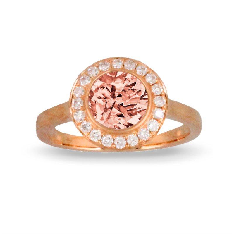 Lasker Gemstone Morganite Ring with Diamond Halo