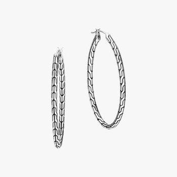 Classic Chain Silver Hoop Earrings