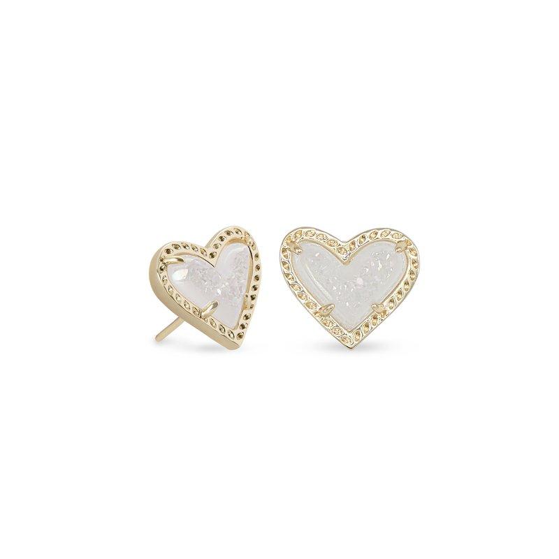 Kendra Scott Ari Heart Gold Stud Earrings In Iridescent Drusy