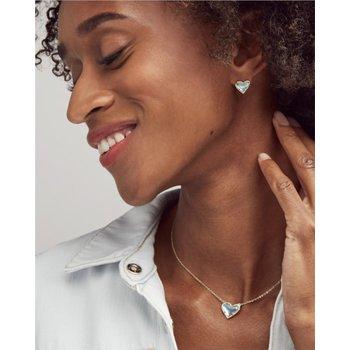 Ari Heart Gold Stud Earrings In Iridescent Drusy