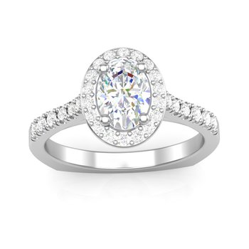 Oval Halo Engagement Ring - 1.20CT Center