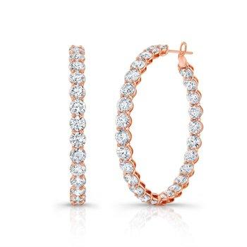 Beaded Diamond Hoop Earrings