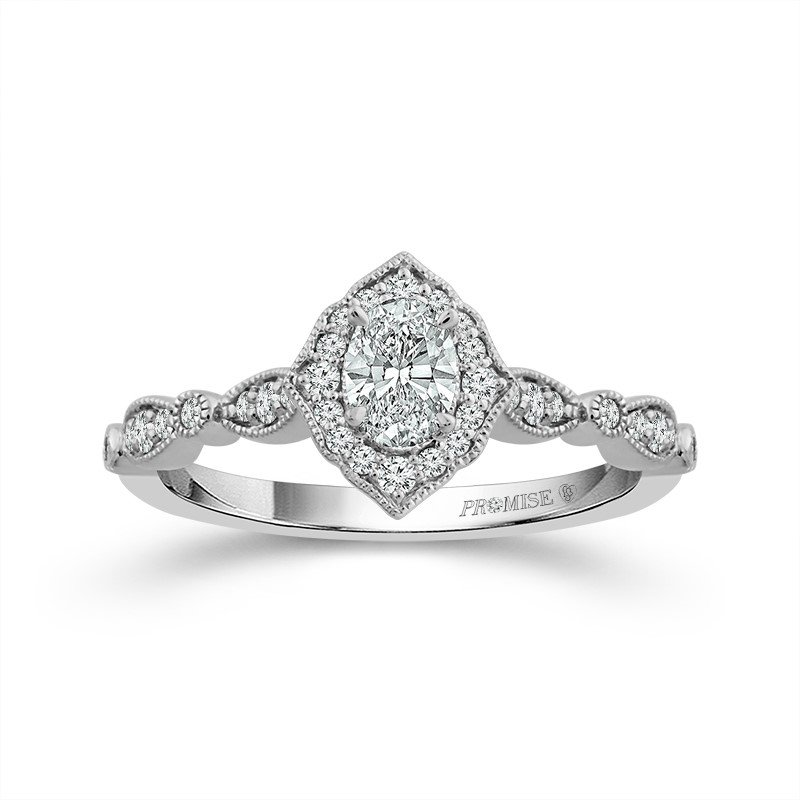 Lasker Bridal Picture Frame Halo Ring - Oval Diamond