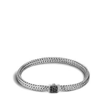 Classic Chain Bracelet with Black Sapphire