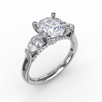 Three-Stone Engagement Ring Mounting with Pear Shaped Diamonds