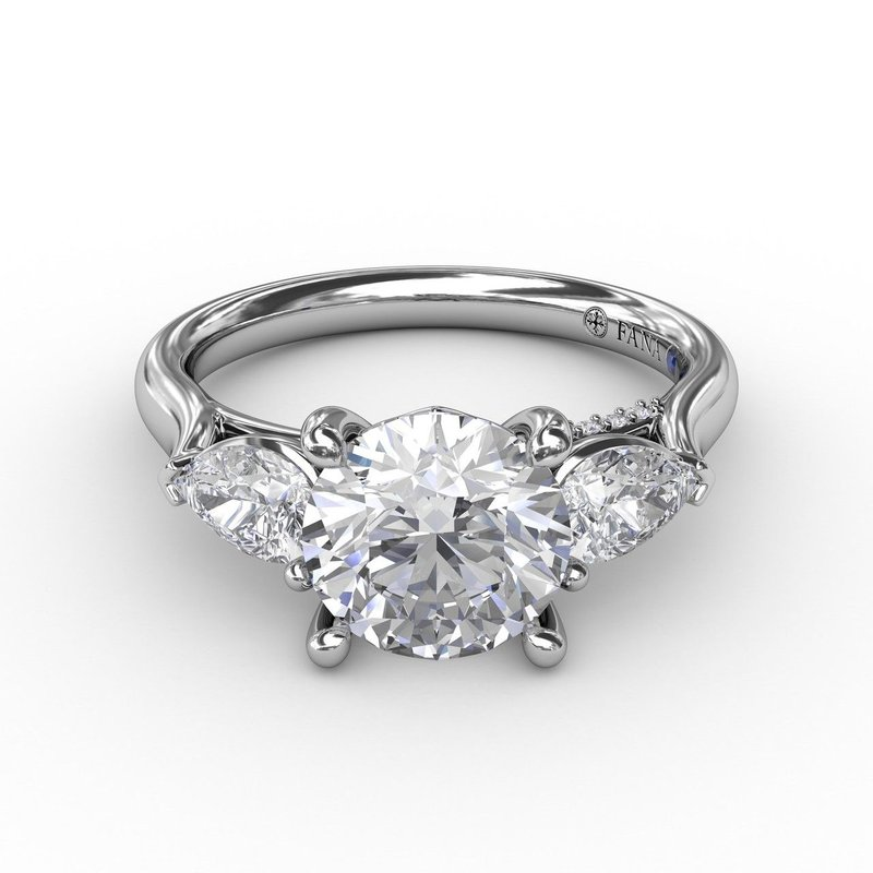 Fana Three-Stone Engagement Ring Mounting with Pear Shaped Diamonds
