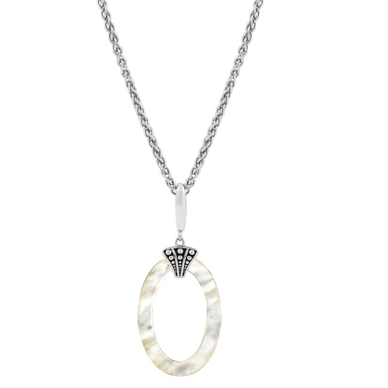 Lasker Pearl Fashion OPEN OVAL MOTHER OF PEARL PENDANT