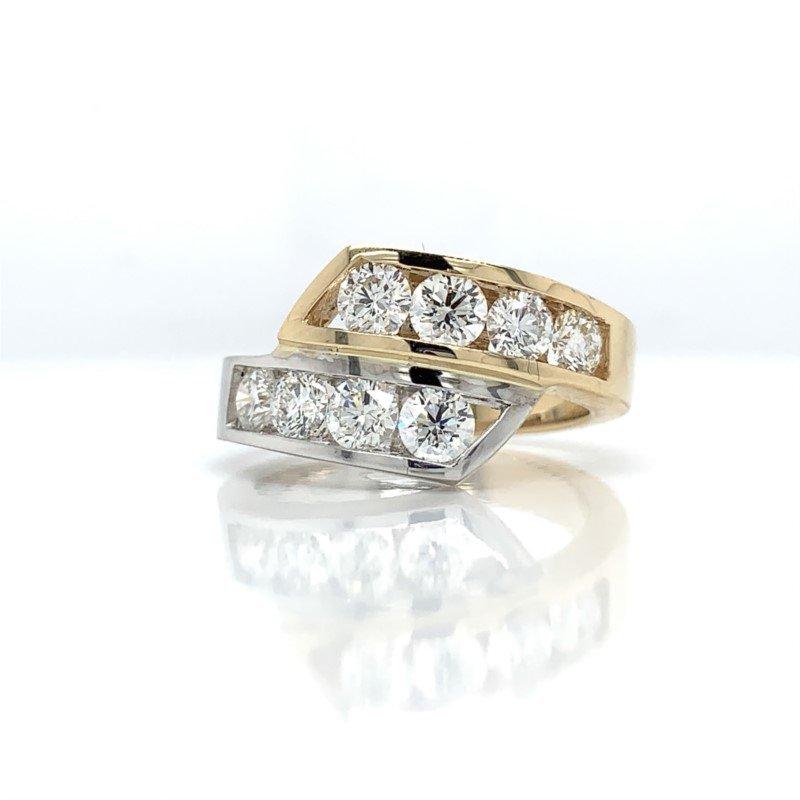 Lasker Diamond Fashion 2-Tone Bypass Channel Set Ring