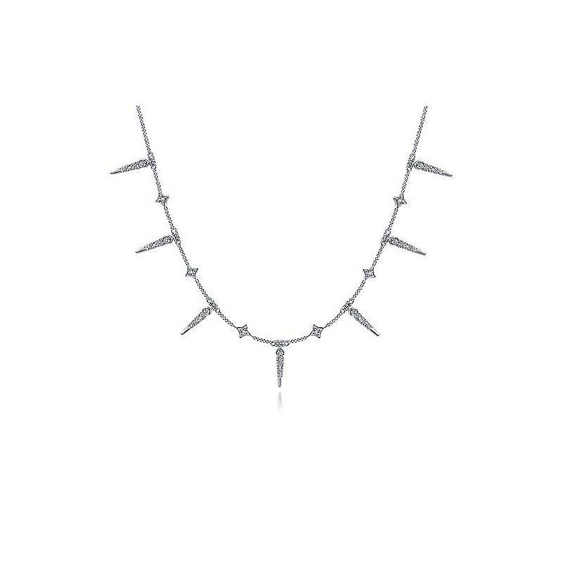 Gabriel Fashion 14K White Gold Alternating Diamond Spike Necklace