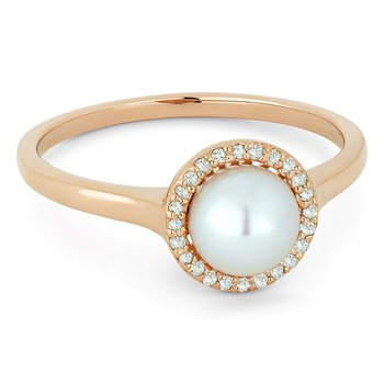 Pearl Halo Ring In Yellow Gold