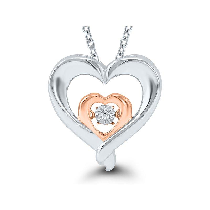 Lasker Diamond Fashion Sterling Silver & Rose Gold Diamond Heart Pendant