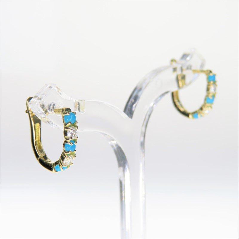 Lasker Gemstone Turquoise Huggie Earrings