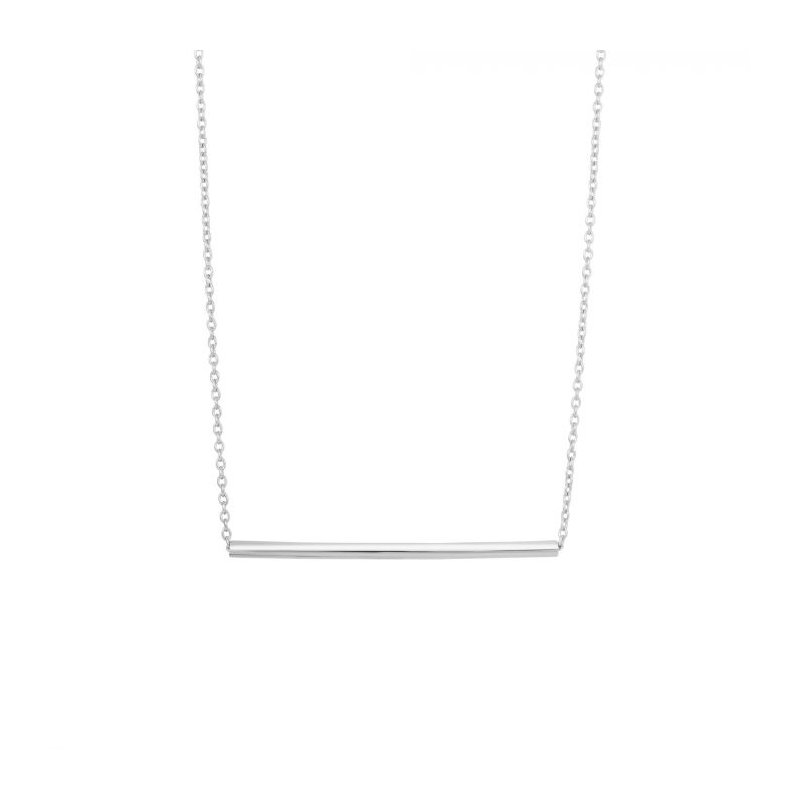 Lasker Signature Silver Round Bar Necklace