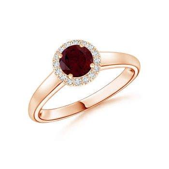 Red Garnet and Diamond Ring