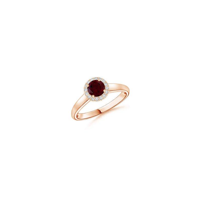 Lasker Gemstone Red Garnet and Diamond Ring
